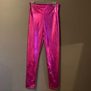 3 for $20! Metallic pink leggings